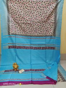 Pure tussar ghicha silk block print sarees