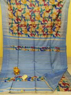Pure handloom tussar ghicha silk block print sarees