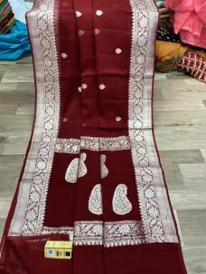 Pure chiffon georgette khaddi banarasi sarees