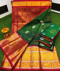 Dark green kuppadam sarees with kanchi border