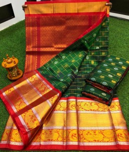 Dark green kuppadam sarees with kanchi border