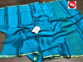 Pure mysore wrinkle crepe silk with piping border