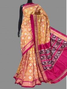 Ikkat silk sarees with double weaving