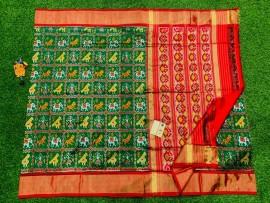 Pochampally ikat silk sarees with double weaving