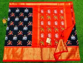 Ikat silk sarees with double weaving