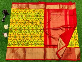 Ikat silk sarees with double weaving