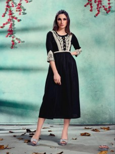 Pure Rayon kurti with Lucknowi Embroidery work
