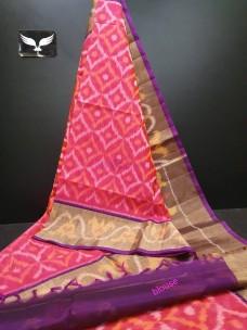 Pure handloom silk cotton ikkat design sarees