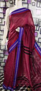 Linen temple border sarees