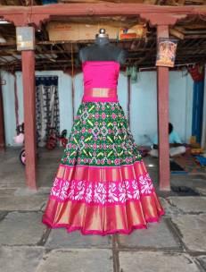 Pochampally ikat silk lehenga