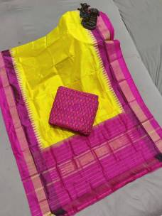 Yellow and pink ikat silk dupatta with top