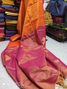 Orange pink tissue linen sarees