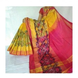 yellow with pink uppada sarees with big pochampally border
