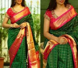 Dark green with pink kuppadam silk sarees