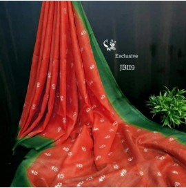 Orange and green embroidered saree