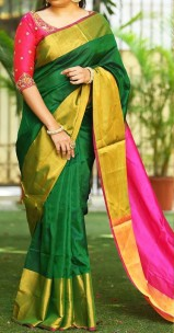 Dark green and pink uppada sarees with big border