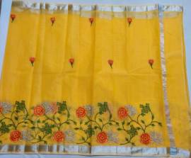 Slub linen embroidered sarees