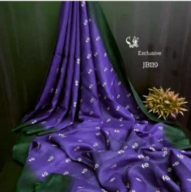 Dark blue with green embroidered sarees