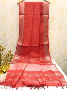 Red slub linen plain