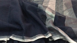 Black linen by linen with silver zari