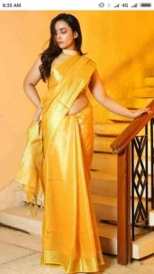 Golden yellowish tissue linen sarees