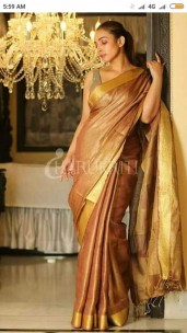 Brownish plain tissue linen saree