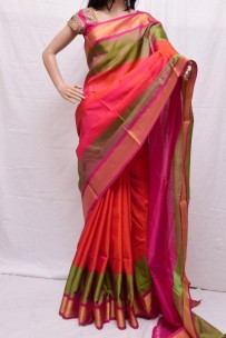 Orange with pink uppada special border sarees