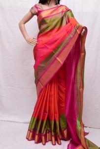 Orange with pink uppada special border sarees