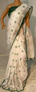 Green embroidered linen sarees