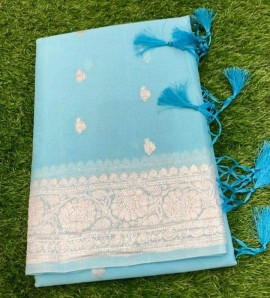 Light sky blue pure chiffon banarasi sarees