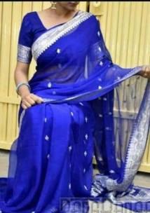 Dark blue pure chiffon banarasi sarees