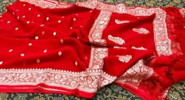 Dark red pure chiffon banarasi sarees