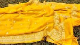 Mango yellow pure chiffon banarasi sarees