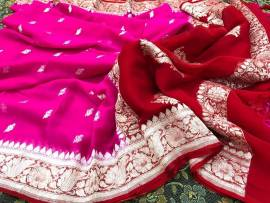 Dark pink and dark red pure chiffon banarasi sarees