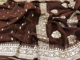 Dark brown pure chiffon banarasi sarees