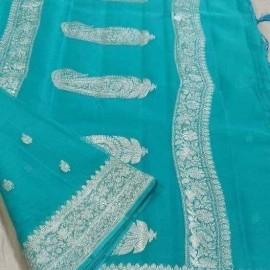 Turquoise blue pure chiffon banarasi sarees