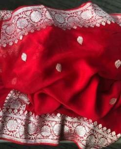Red pure chiffon banarasi sarees