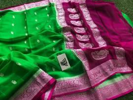 Green and dark magenta pure chiffon banarasi sarees