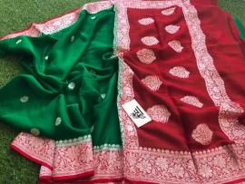 Dark green and red pure chiffon banarasi sarees