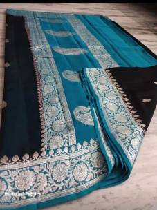 Black and peacock blue pure chiffon banarasi sarees