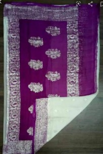 Cream and dark purple pure chiffon banarasi sarees
