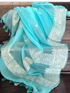 Light blue pure chiffon banarasi sarees