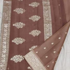 Brown pure chiffon banarasi sarees