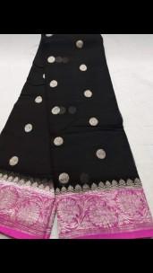 Black and dark pink pure chiffon banarasi sarees