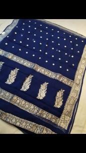 Navy blue pure chiffon banarasi silk sarees