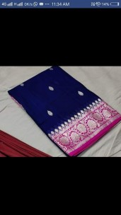 Navy blue and magenta pure chiffon banarasi silk sarees