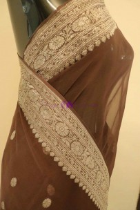 Brown pure chiffon banarasi silk sarees
