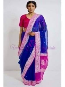 Dark blue and magenta pure chiffon banarasi silk sarees