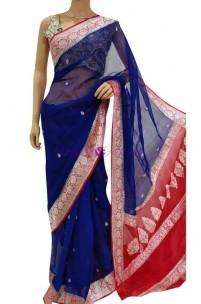 Dark blue pure chiffon banarasi silk sarees