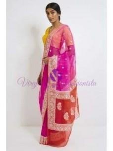 Fuschia pink pure chiffon banarasi silk sarees